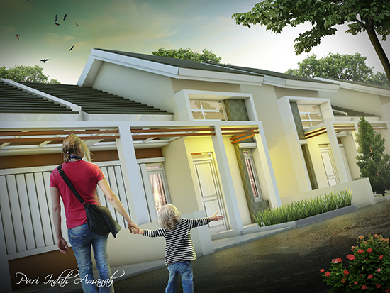 Desain rumah minimalis type 52 2 kamar tidur 1 lantai