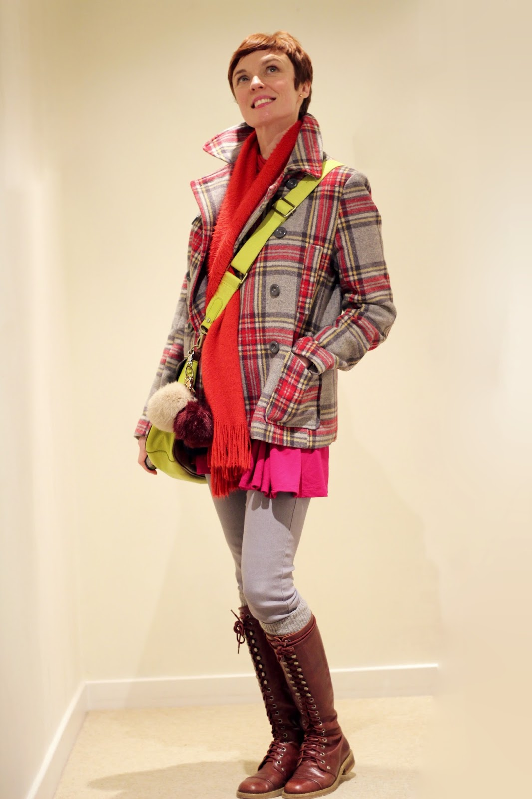 Hot pink, neon yellow, tartan & grey | Fake Fabulous