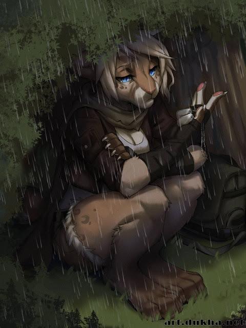 Фурри-кошка под дождем