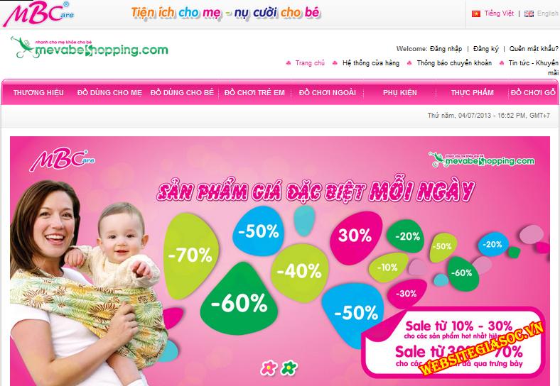 thiết kế website đồ mẹ và bé giá rẻ