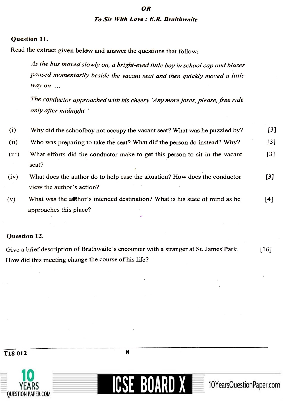 ICSE Board 2018 class 10th English Literature question paper Download page-08