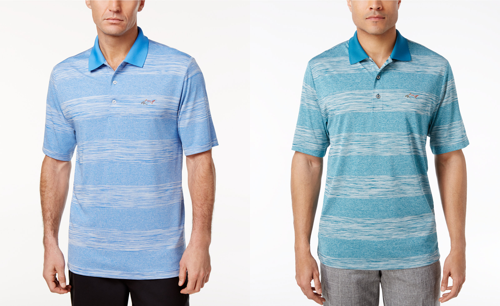 e759e322c5f3 Macy s offers this Greg Norman for Tasso Elba Men s Heathered Striped  Performance Sun Protection Golf Polo in these two colors on sale for  5.96  only (Reg.