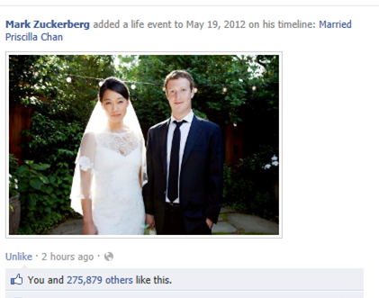 Facebook's Mark Zuckerberg and Priscilla Chan Tied the Knot Creates Online Buzz