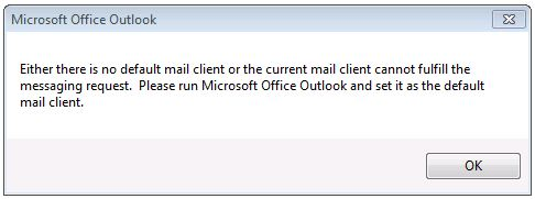 Error message shown when running sample against 64-bit Outlook.