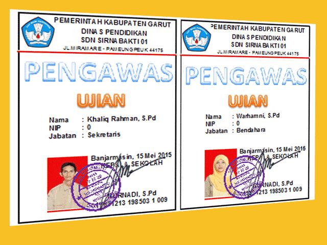 Administrasi Sekolah Aplikasi Cetak ID Card Pengawas dan Peserta Ujian SD/MI