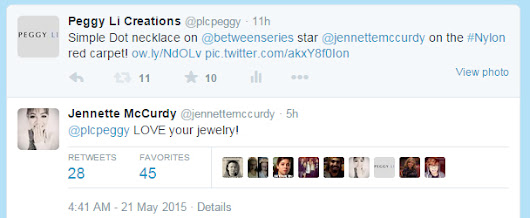 Jennette McCurdy in Peggy Li Creations Simple Dot Necklace | Peggy Li Creations Jewelry Blog