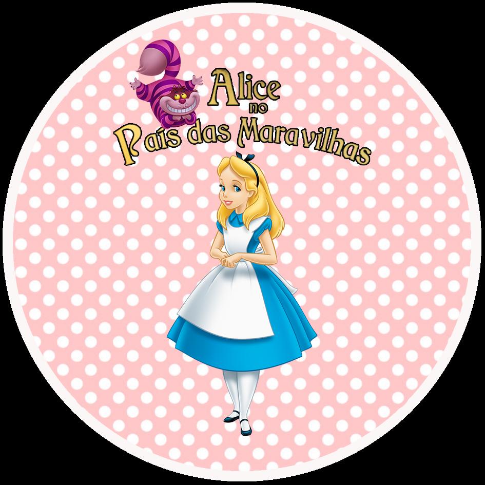 Toppers o Etiquetas de Alicia en Rosa y Celeste para imprimir gratis.