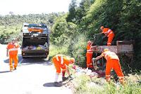 Funcionários recolhem o lixo da beira da estrada, em Vieira