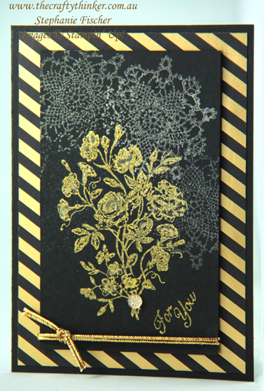 #thecraftythinker  #stampinup  #cardmaking  #shimmerpaint  #stampingwithshimmerpaint  #veryvintage , Shimmer Paint, Black & Gold card, Stamping with Shimmer Paint, Very Vintage, Stampin Up Australia Demonstrator, Stephanie Fischer, Sydney NSW