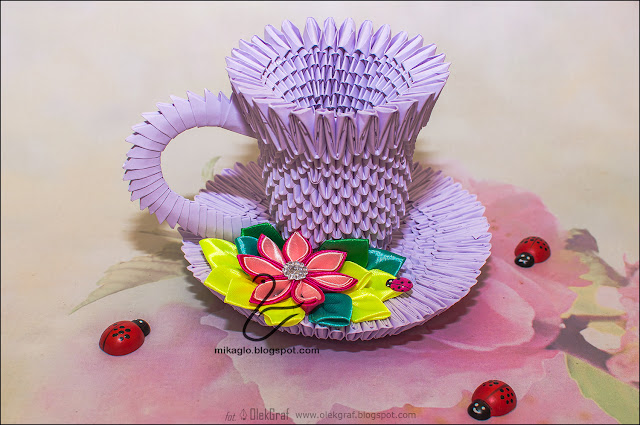 655. Filiżanka z origami / 3d origami tea cup