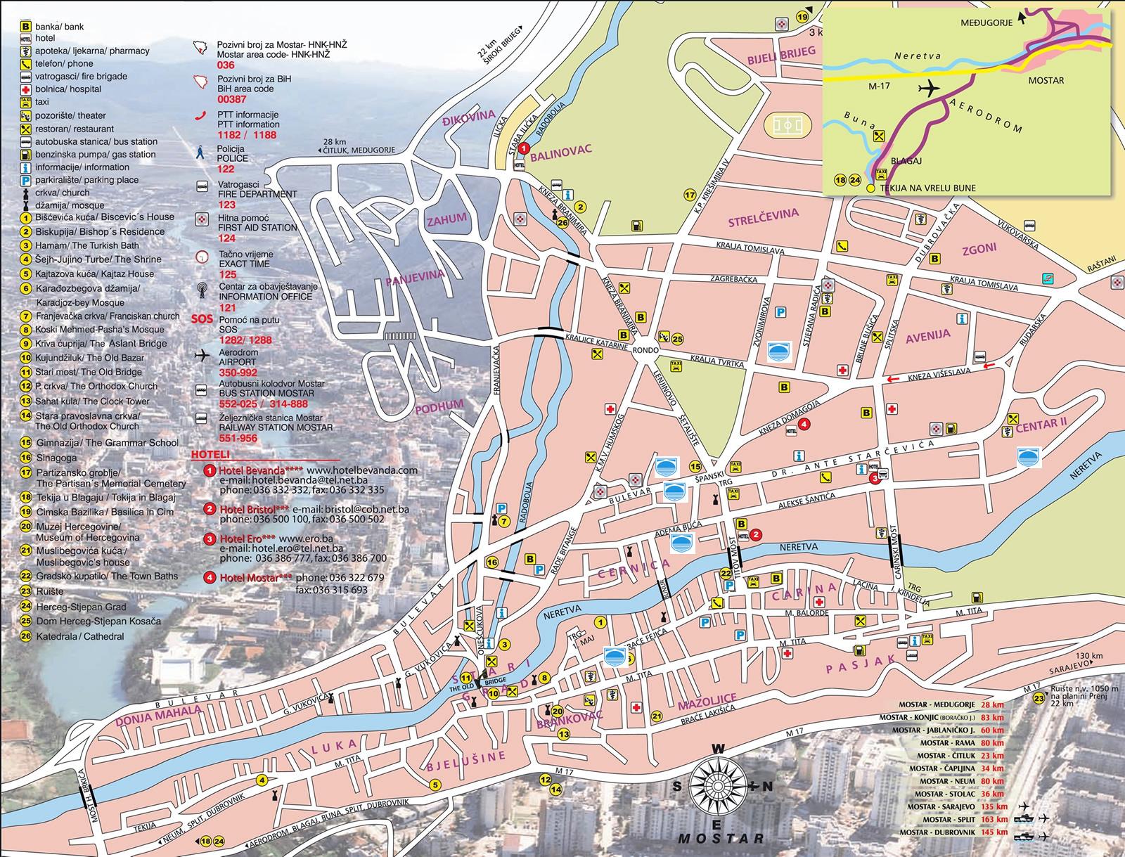 Mapa Grada Istocno Sarajevo Turisticka Organizacija Jahorina