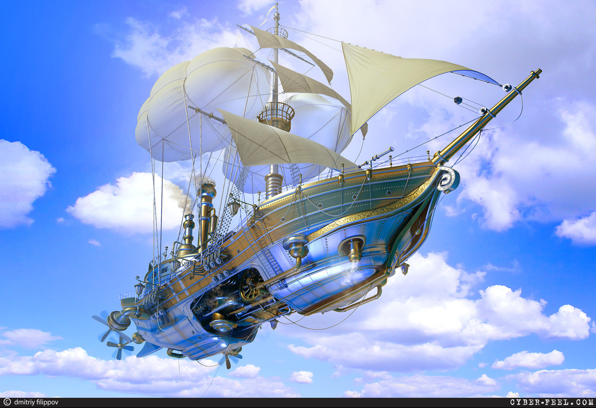 03-Steampunk-Ship-Dmitry-Filippov-Steampunk-Digital-Art-with-the-Zodiac-www-designstack-co
