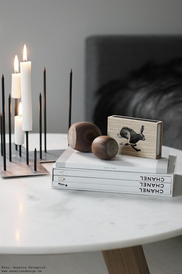 annelies design, webbutik, webshop, ljusstake, candle cross, raw, kanin, hare, tändstickor, trä. hasselnöt, hasselnötter, fårskinn, coffee table books, böcker, chanel,