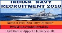 Nausena Bharti Indian Navy Recruitment 2018– 16 Data Entry Operator