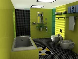Baño decorado en verde gris