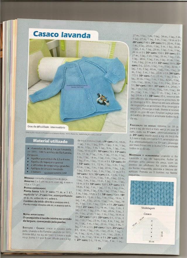 Casaco Lavanda-Receita Em Tricô  Para Bebês