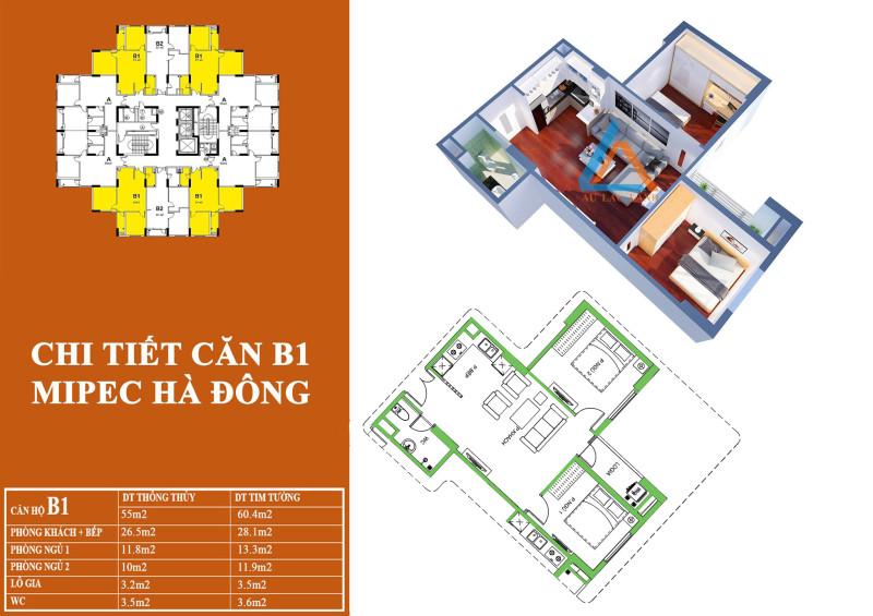 Mặt bằng thiết kế căn hộ 55 m2 tại dự án chung cư Mipec Hà Đông