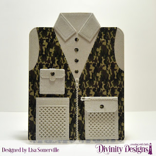 Divinity Designs Custom Dies: Fishing & Hunting Vest, Couture Collection, Paper Collection: Menswear Material