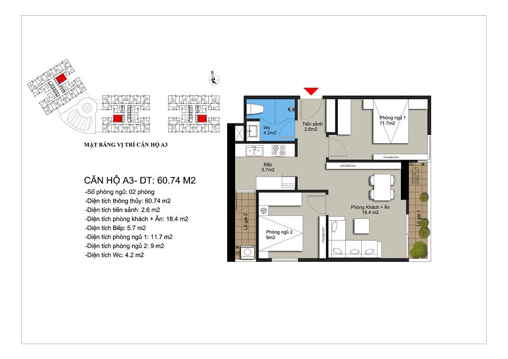Căn hộ số 10,11 rộng 62,08m2 tòa CT1A, CT1B, CT2