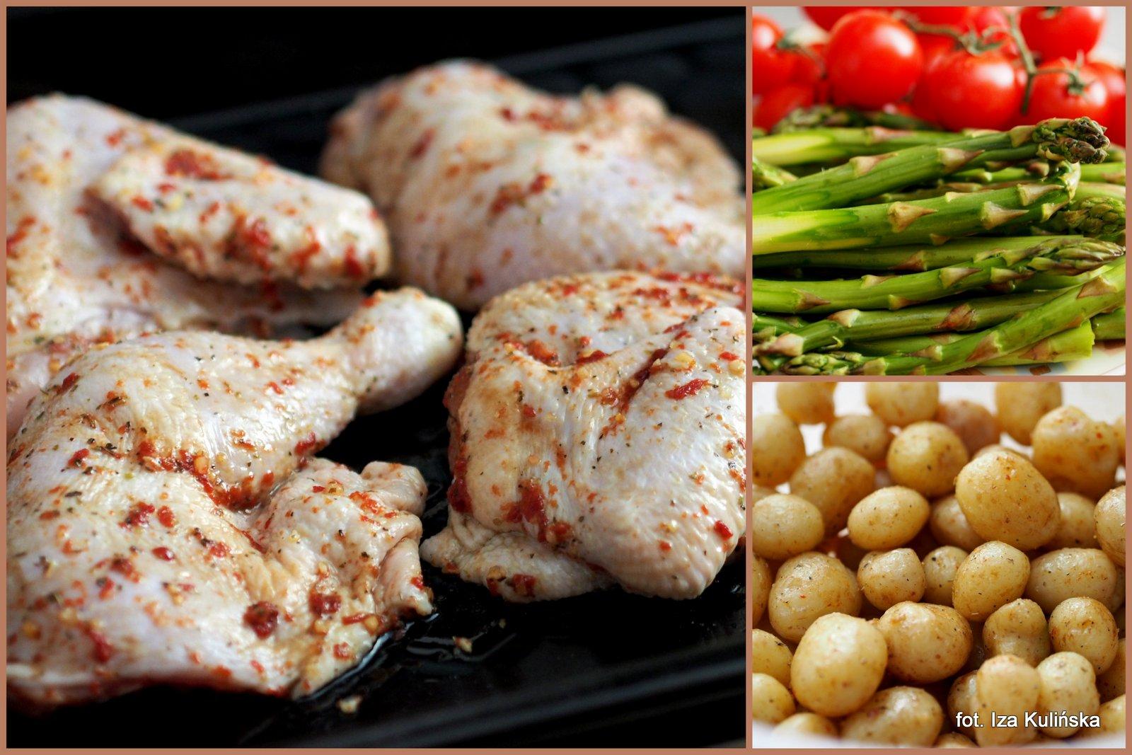 kurczak pieczony, pieczone warzywa, kawalki kurczaka, obiad z piekarnika, jednogarnkowe