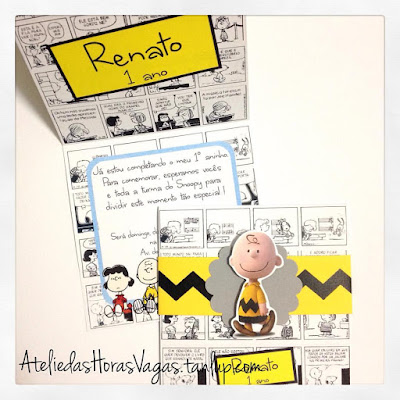 convite artesanal personalizado aniversário infantil turma do Snoopy e Charlie Brown 1 aninho festa menino
