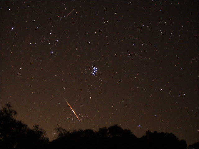 Meteor (Perseid's) and M45 (Pleiades) - Imaged by Mark Bell on 08/10/2013 using an   Orion StarShoot All-In-One Astrophotography Camera.