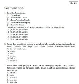 Soal Soal USBN Sejarah SMA MA