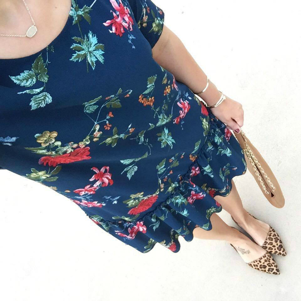 how to pattern mix, leopard flats, floral dress