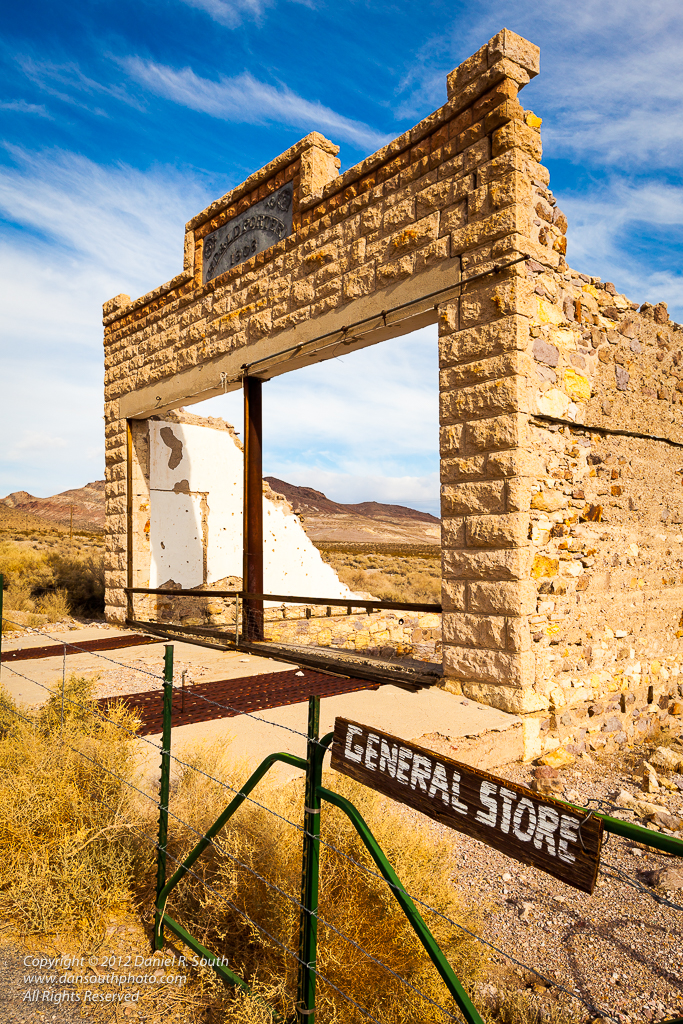 a photo of the General Store at the Rhyolite Ghost Town near death valley
