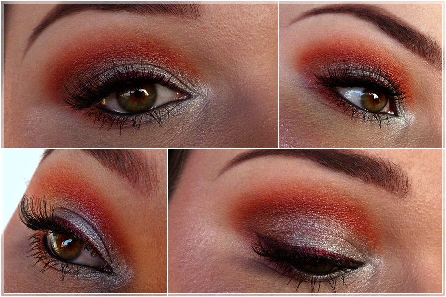 Make Up Look in Rot und Grau smokey eye