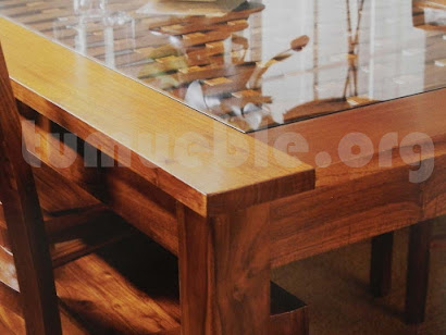 mesa comedor en teca y rattan natural 4162/2