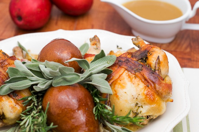 Cornish Hens with Pears, Bacon and Chestnut