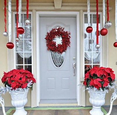 pretty, Christmas, front porch, decoration