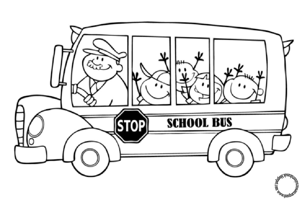 Gambar Mewarnai Bus Sekolah Untuk Anak