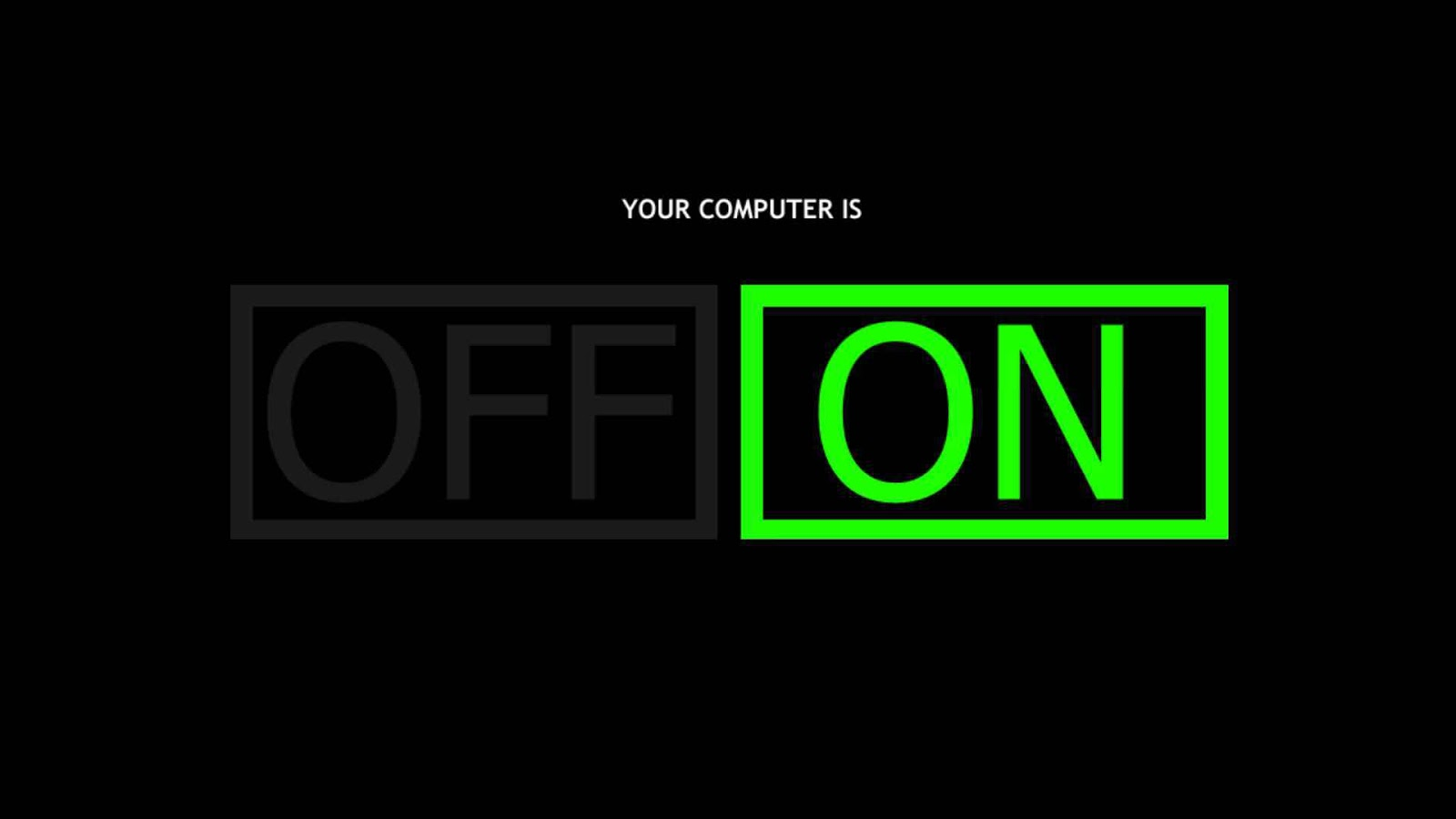 Off On Text Design Simple in Green Black Color
