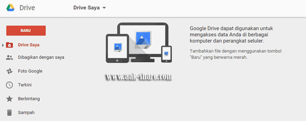Halaman utama pada Google Drive