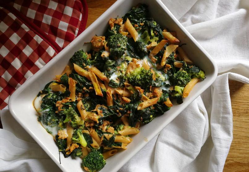Gehaktschotel met broccoli en spinazie