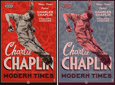 Charlie Chaplin's Modern Times Movie Poster Screen Print by Ken Taylor x Nautilus Art Prints x Mondo