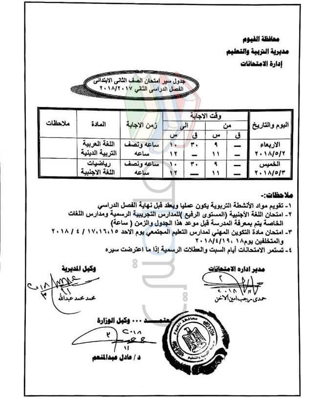 جدول امتحانات الصف الثاني الابتدائي 2018 الترم الثاني محافظة الفيوم