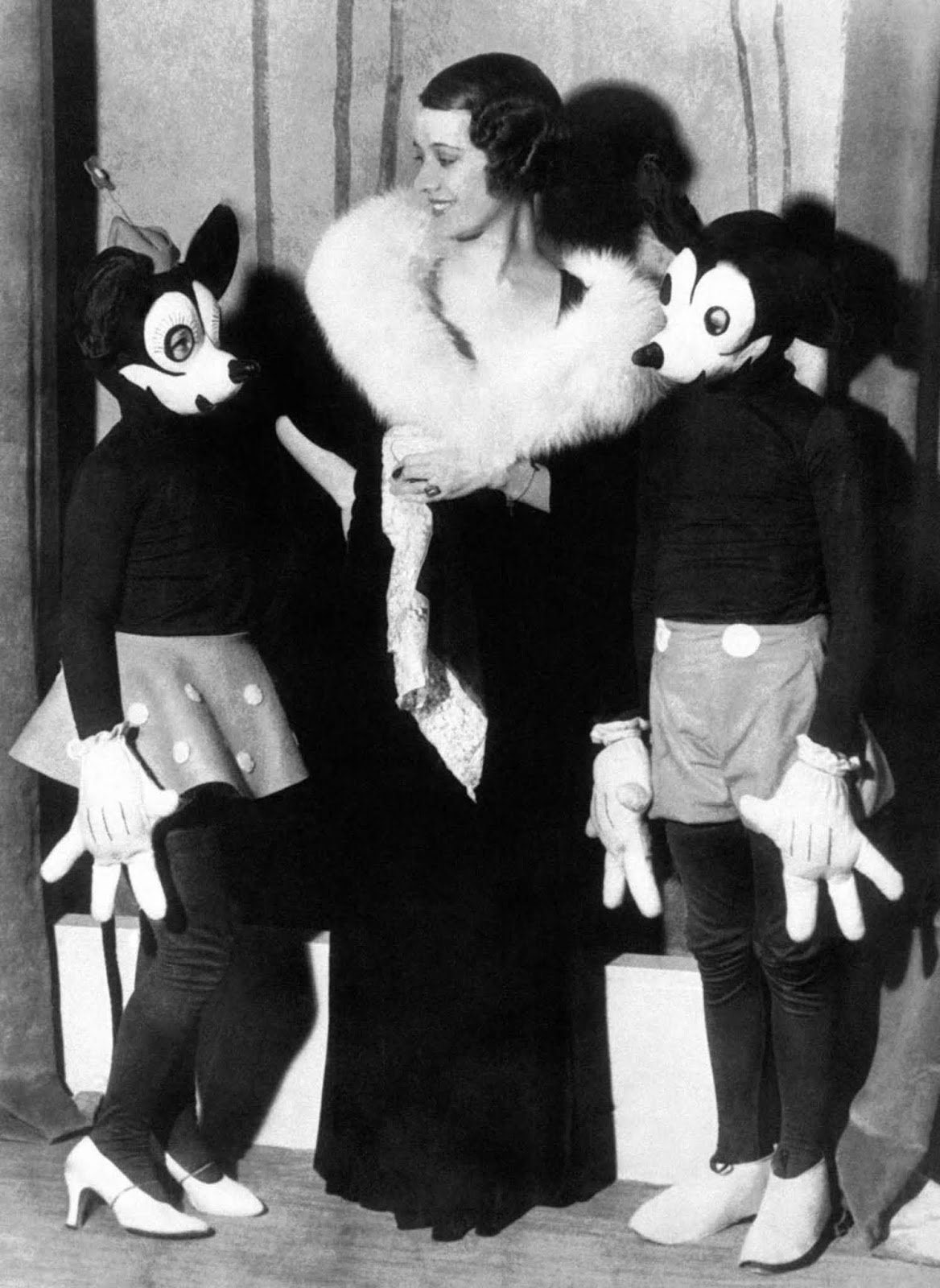 Lily Pons, singer at New York's Metropolitan Opera with Mickey and Minnie. 1932.