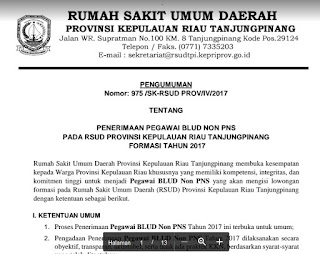 Penerimaan Pegawai BLUD NON PNS RSUD Kepulauan Riau