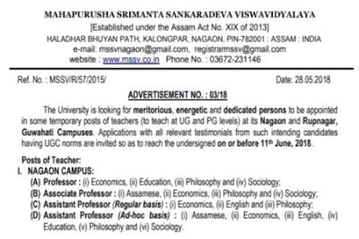 Mahapurusha Srimanta Sankardeva Viswavidyalaya Recruitment
