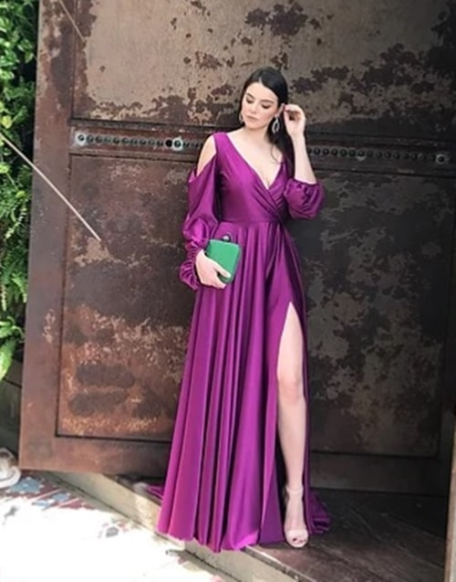 vestido de festa longo fúcsia com fenda