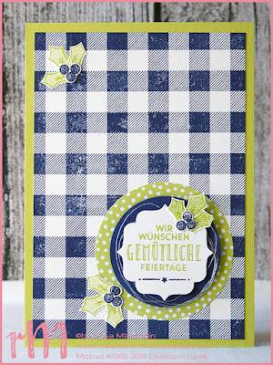 Stampin' Up! rosa Mädchen Kulmbach: Weihnachtskarten mit Buffalo Check und Gestickte Weihnachtsgrüße