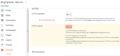 Blogger dashboard setting page HTTPS Availability option