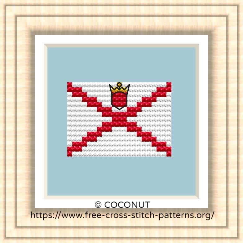 NATIONAL FLAG OF JERSEY CROSS STITCH CHART