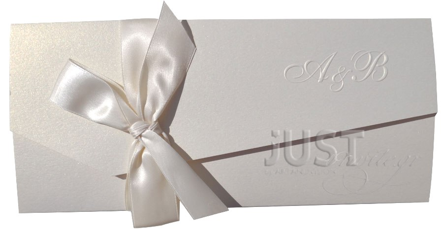 Wedding invitations with satin bow A1107
