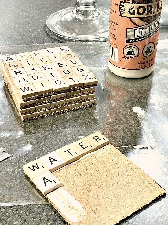 Easy DIY Scrabble Drink Coasters from leftover  tiles