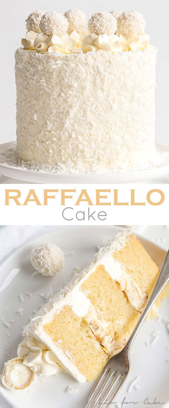 This Raffaello Cake is a coconut lover's dream! Layers of moist and tender almond cake, coconut custard, and coconut Swiss meringue buttercream. | livforcake.com