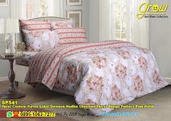 Sprei Custom Katun Lokal Dewasa Nadira Ornamen Floral Bunga Pattern Pink Putih